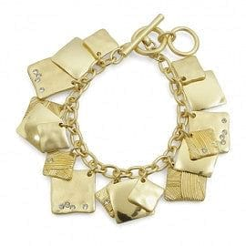 Crystal Accented Square Charm Toggle Bracelet - The Best Accessory