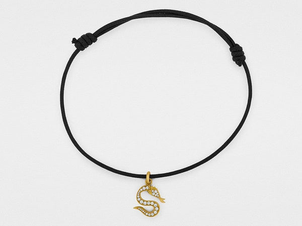 Snake Bones Logo Diamond Charm Bracelet in 18K Gold - The Best Accessory