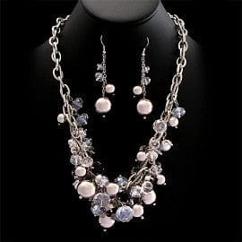 Crystal Cluster Necklace Set - The Best Accessory