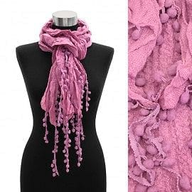Multi Pompom Drop Ruffle Elastic Scarf - Pink - The Best Accessory  - 1