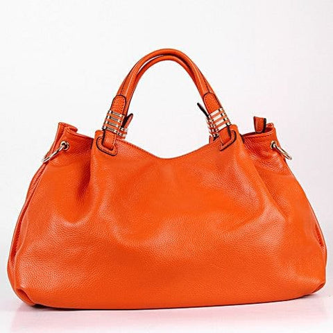 Orange English Italian Leather Hobo Handbag - The Best Accessory  - 1