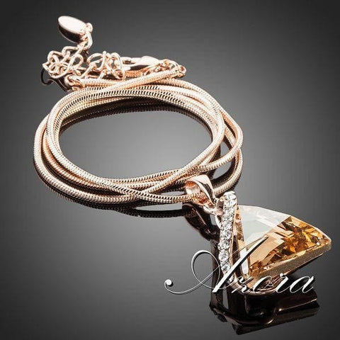 AZORA 18K Rose Gold Plated Cubic Zirconia Stone Triangle Pendant - The Best Accessory