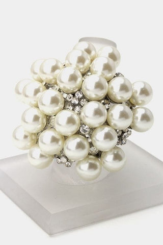 Crystal and Pearl Stretch Ring - The Best Accessory
