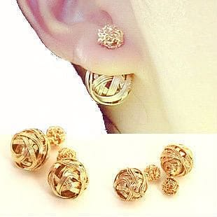 Double Sided Gold Ball Earrings - The Best Accessory  - 1