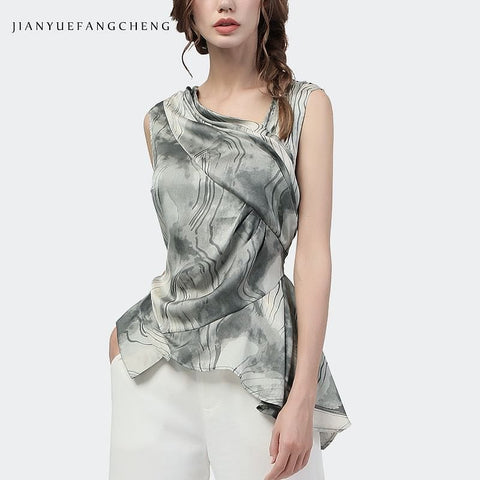Jade and White Printed Skewed Collar Blouse w/Asymmetrical Hem
