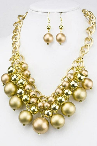 Metal & Pearl Ball Necklace Set - The Best Accessory  - 1