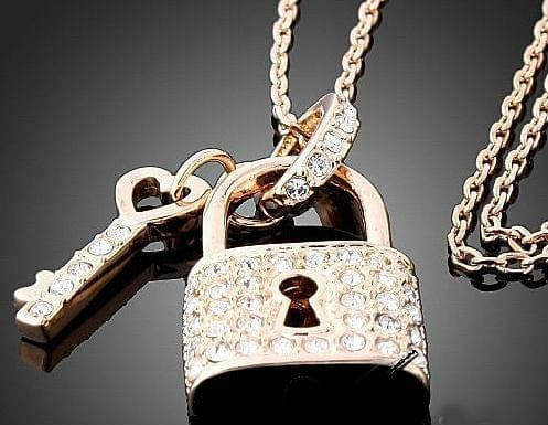 Gold and Crystal Key and Lock Pendant Necklace - The Best Accessory