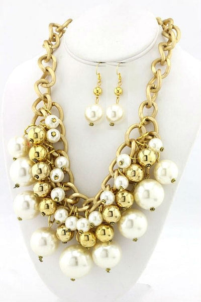 Metal & Pearl Ball Necklace Set - The Best Accessory  - 2