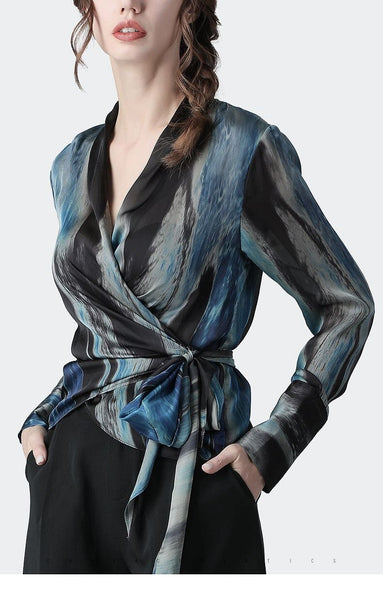 Satin Water Color  V Neck Wrap Blouse