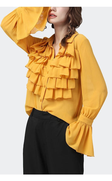 Elegant Yellow Chiffon Ruffled Loose Fitting Blouse w/ Flared Sleeves