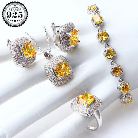 Yellow Cubic Zirconia Silver 925 Jewelry Earrings  Ring Necklace Pendant Set