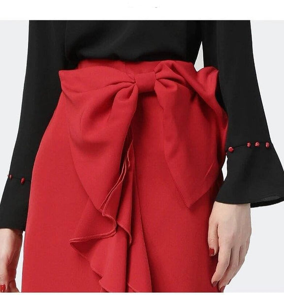 Elegant Ruffled Wrapped Skirt w/ Bow-knot Skirt