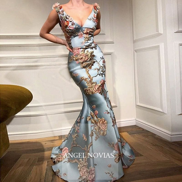 Long Elegant Floral Print Mermaid V-neck Evening Dress - The Best Accessory