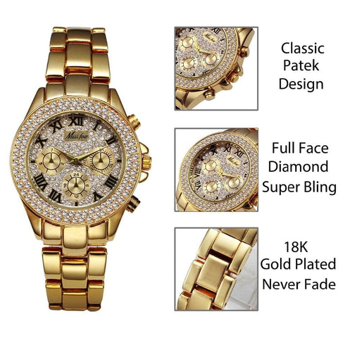 Luxury Chronograph Roman Numerals 18K Gold Ladies Quartz Wristwatch