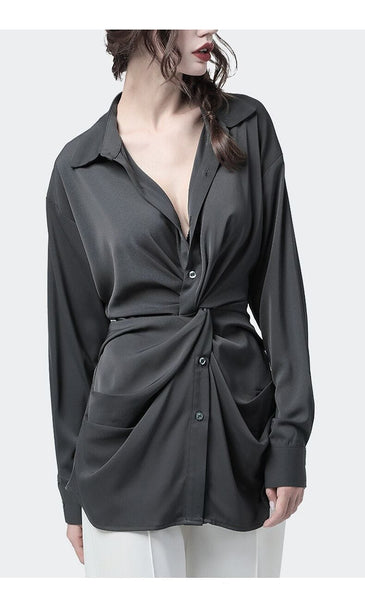 Classic Soft Long Sleeve  Ruched Maxi Blouse