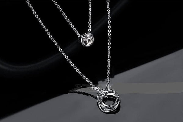 Link Chain Slide Pendant White Gold Color Two Layered Pendant Crystal Necklace