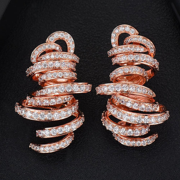 GODK Monaco Design Luxury Tornado Sandstorm  Cubic Zircon Statement Earrings