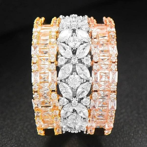 Luxury Geometry Bold Statement Rings Cubic Zirconia CZ Accessories Rings