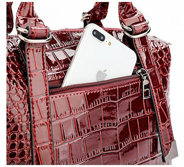 Classic Crocodile Satchel/Tote Handbag - The Best Accessory