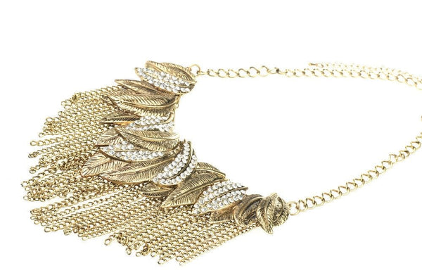 Leaf Chain and Crystal Statment Necklace - The Best Accessory  - 2
