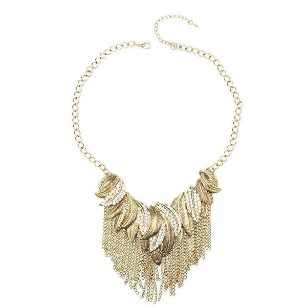 Leaf Chain and Crystal Statment Necklace - The Best Accessory  - 1