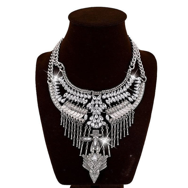 Vintage Silver Multilayer Tassel Crystal Maxi Collar and Pendant Necklace - The Best Accessory