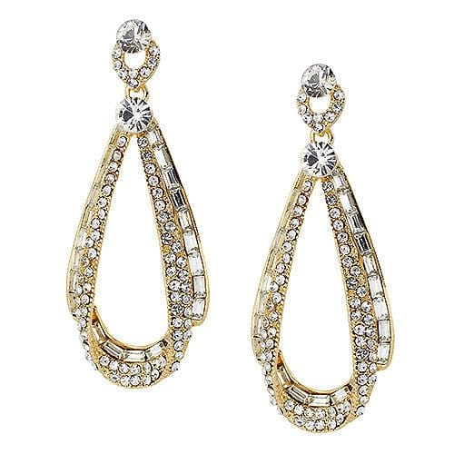 Rhinestone Art Deco Mirrored Drop Earrings - The Best Accessory