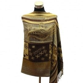 Paisley With Multi Square Border Pashmina - Brwn/Tan - The Best Accessory