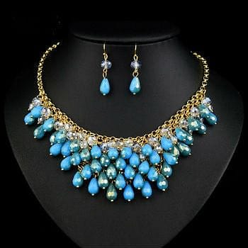 Sparkling Blue Teardrop Drop Layered Necklace Set with Crystal Accents - The Best Accessory