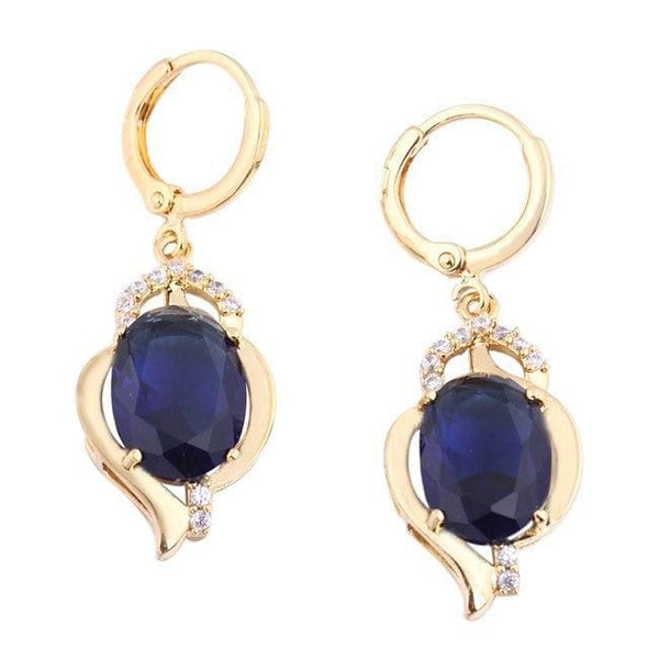 Vintage Sapphire Blue and Rhinestone Drop Earrings - The Best Accessory