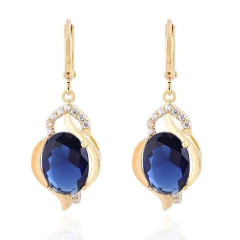 Vintage Sapphire Blue and Rhinestone Drop Earrings - The Best Accessory  - 1