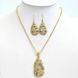 Drop Pendant & Earring Set with a Wave Motiff - The Best Accessory