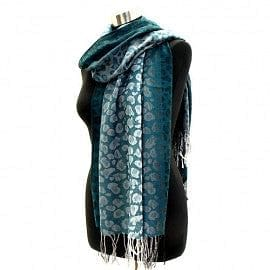 Teal Leopard Design Pashmina - The Best Accessory