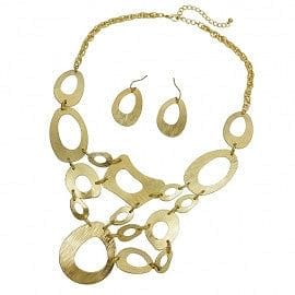 Matte gold Abstract Design Necklace Set - The Best Accessory
