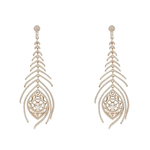 Peacock Feather Long Drop Earring Rosegold - The Best Accessory