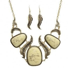 Feather Motif Abstract Necklace Set - The Best Accessory