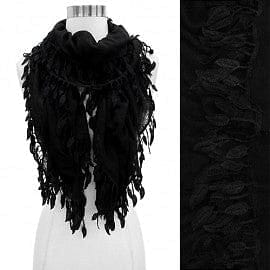 Leaf Fringed Elastic Scarf - The Best Accessory
