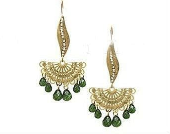 Chandelier Earrings with Green Beads - The Best Accessory