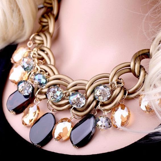 Crystal, Agate and Chain Choker Necklace - The Best Accessory