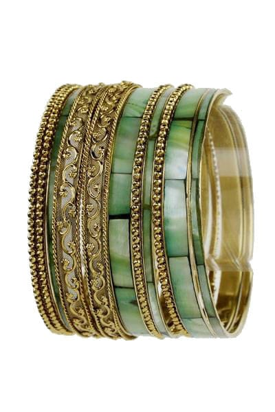 Ornate Mother of Pearl Finished Bangles - The Best Accessory