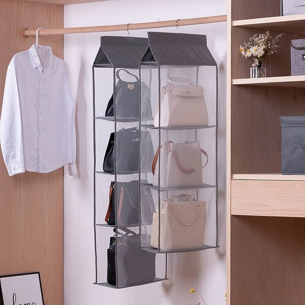 Wardrobe hanging organizer Tote bag hanging storage bag handbag organizer in the closet mesh purse handbag wardrobe organizer - The Best Accessory