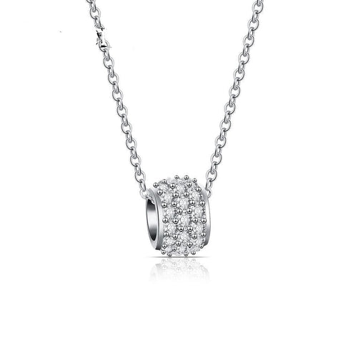 Long Chain and  CZ Charm Necklace