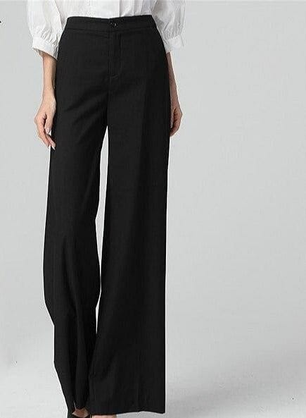 High Waist Full Length Straight Pants  Trousers Pocket Zipper Fly Black Soft Flat Pants - The Best Accessory