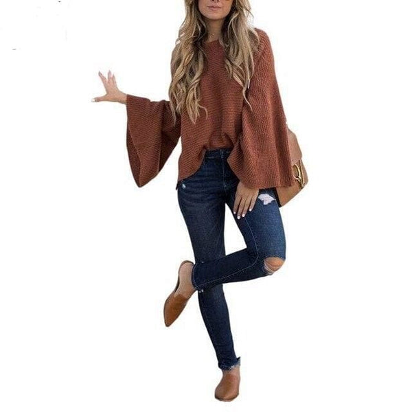 Gold Hands Fashion Lady Batwing Sleeves Knitted Pullovers Sweater Streetwear O-neck Long Sleeves Solid Casual Sweater