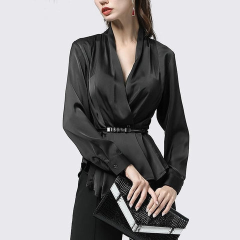 100% Silk Pleated Peplum V-Neck Blouse With Metal Belt