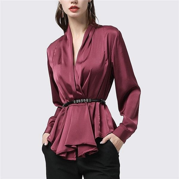 100% Silk Pleated Peplum V-Neck Blouse With Metal Belt - The Best Accessory