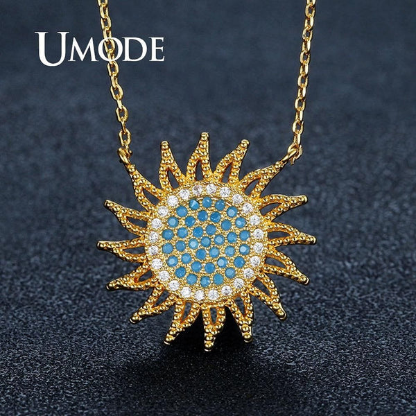 Gold Sun  Zirconia  Link Chain Pendant Necklace - The Best Accessory