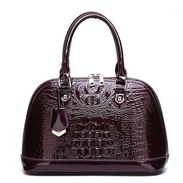 Patent Leather Crocodile Pattern Satchel/ Tote Handbag - The Best Accessory