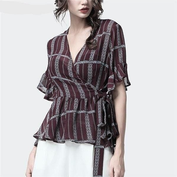 Striped Vintage Peplum  V-Neck Blouse w/Ruffle Sleeves