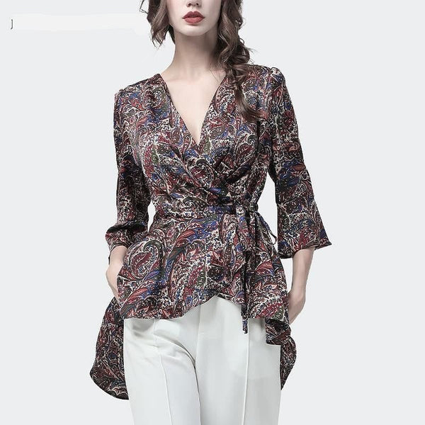 V-Neck Wrap Multi Print Blouse  with High Low Hem